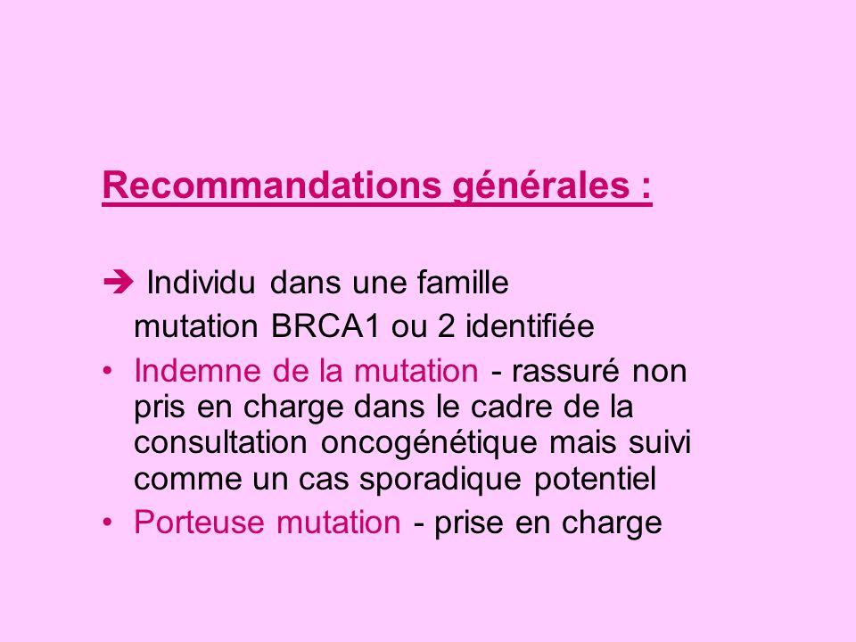 Recommandations générales : Individu dans une famille mutation BRCA1 ou 2 identifiée Indemne de la mutation - rassuré non pris en charge dans le cadre
