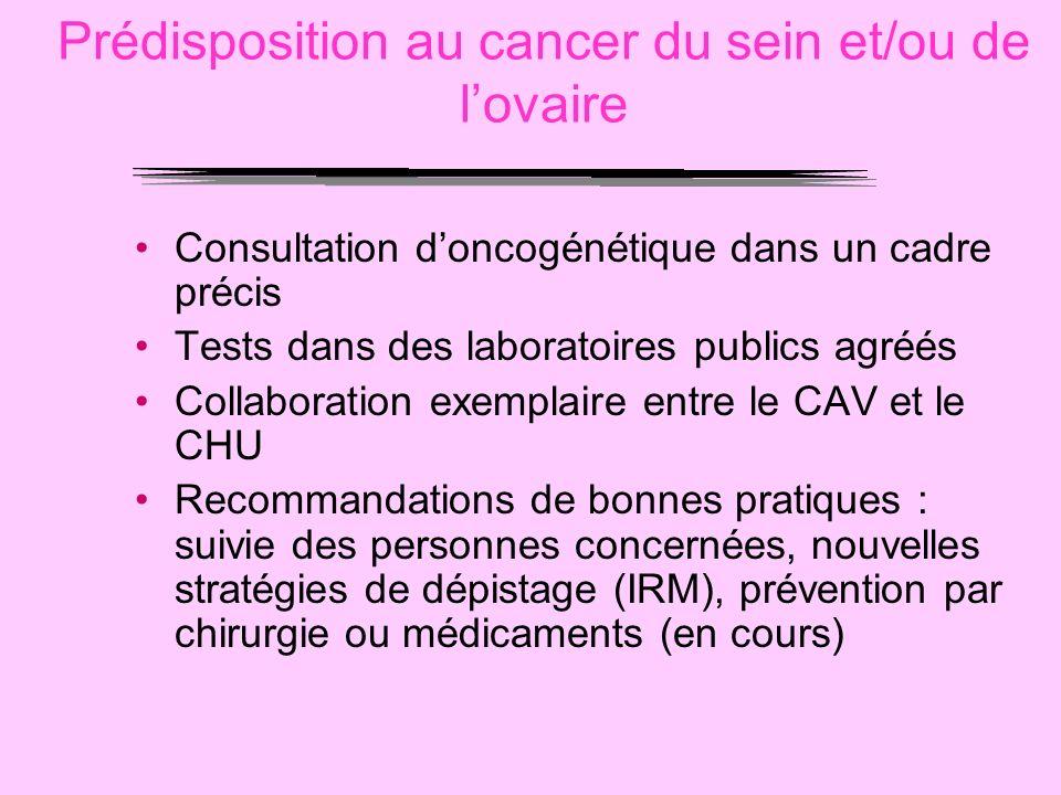 Prédisposition au cancer du sein et/ou de lovaire Consultation doncogénétique dans un cadre précis Tests dans des laboratoires publics agréés Collabor