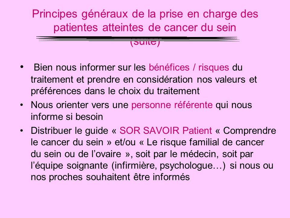 Principes généraux de la prise en charge des patientes atteintes de cancer du sein (suite) Bien nous informer sur les bénéfices / risques du traitemen