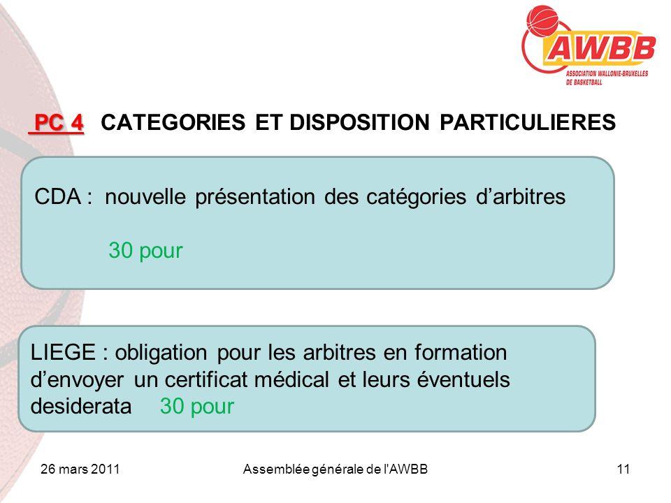 26 mars 2011Assemblée générale de l'AWBB11 ORDRE DU JOUR PC 4 PC 4 CATEGORIES ET DISPOSITION PARTICULIERES CDA : nouvelle présentation des catégories