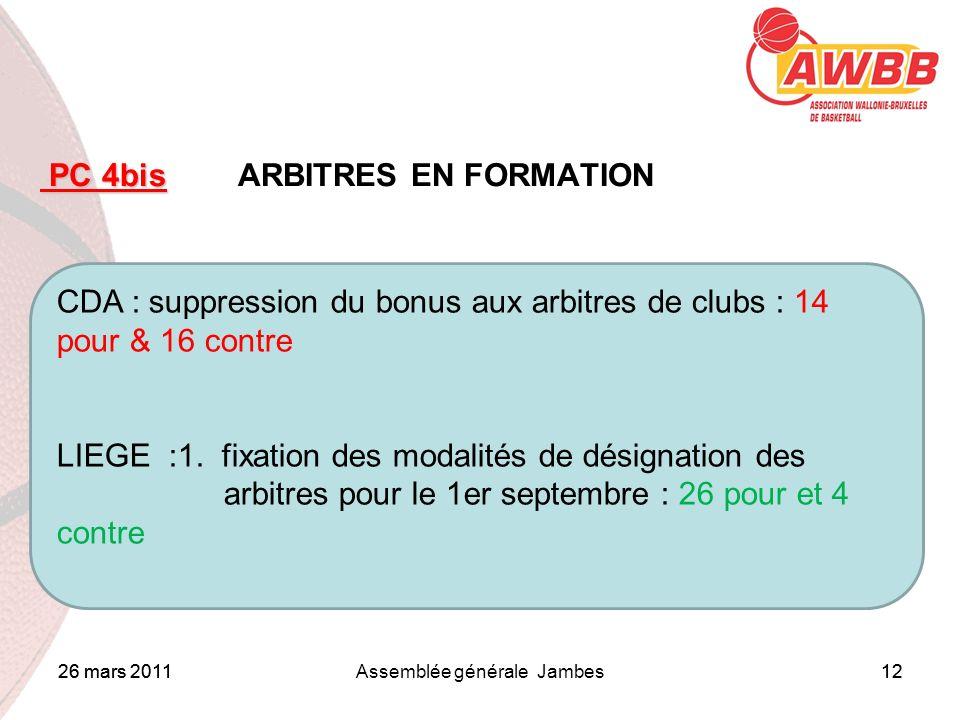 26 mars 2011Assemblée générale Jambes12 ORDRE DU JOUR PC 4bis PC 4bis ARBITRES EN FORMATION CDA : suppression du bonus aux arbitres de clubs : 14 pour