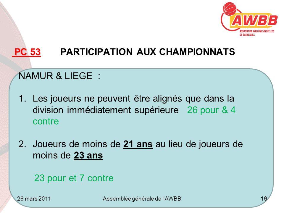 26 mars 2011Assemblée générale Jambes19 ORDRE DU JOUR PC 53 PC 53 PARTICIPATION AUX CHAMPIONNATS NAMUR & LIEGE : 1.Les joueurs ne peuvent être alignés