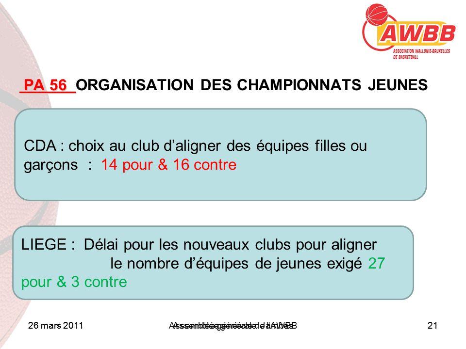26 mars 2011Assemblée générale Jambes21 ORDRE DU JOUR PA 56 PA 56 ORGANISATION DES CHAMPIONNATS JEUNES CDA : choix au club daligner des équipes filles
