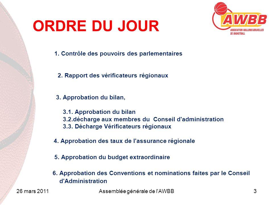 26 mars 2011Assemblée générale de l'AWBB3 ORDRE DU JOUR 1. Contrôle des pouvoirs des parlementaires 2. Rapport des vérificateurs régionaux 3. Approbat
