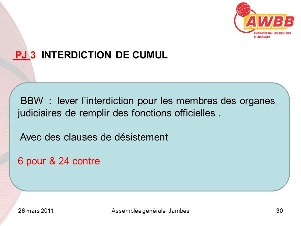 26 mars 2011Assemblée générale Jambes30 ORDRE DU JOUR PJ PJ 3 INTERDICTION DE CUMUL BBW : lever linterdiction pour les membres des organes judiciaires de remplir des fonctions officielles.