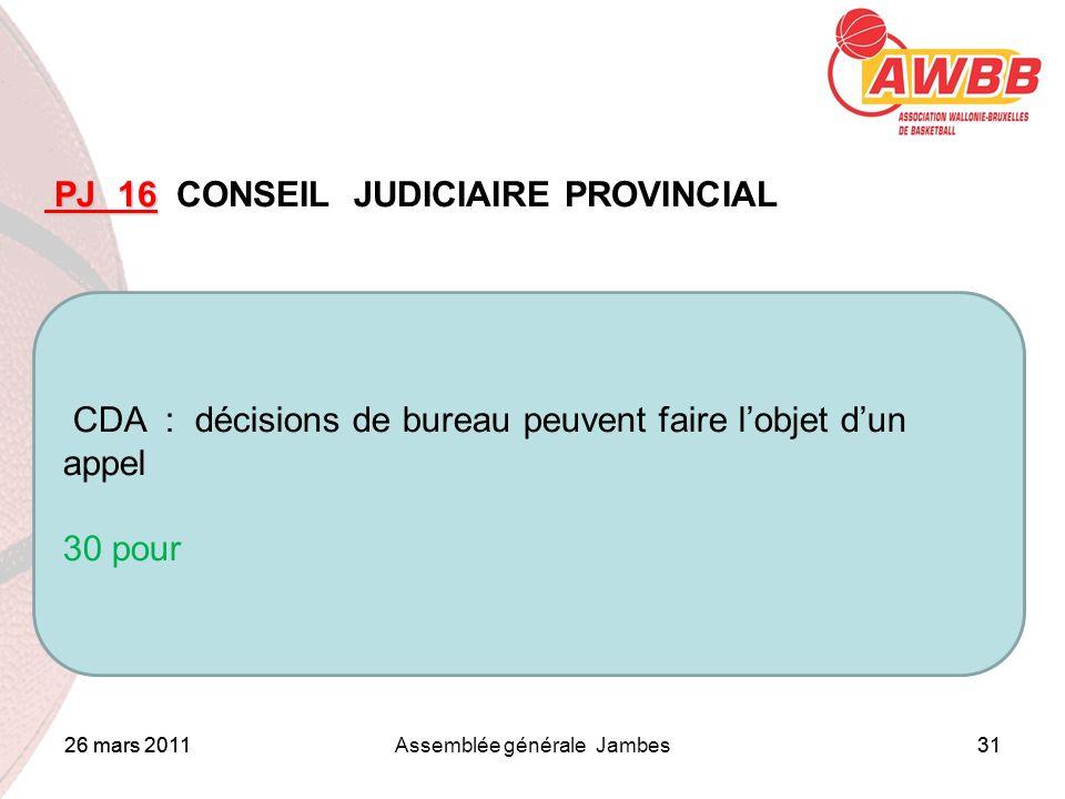 26 mars 2011Assemblée générale Jambes31 ORDRE DU JOUR PJ 16 PJ 16 CONSEIL JUDICIAIRE PROVINCIAL CDA : décisions de bureau peuvent faire lobjet dun app