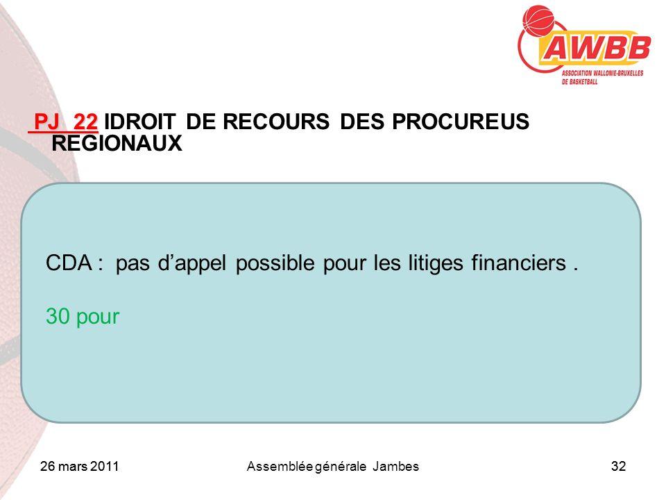 26 mars 2011Assemblée générale Jambes32 ORDRE DU JOUR PJ 22 PJ 22 IDROIT DE RECOURS DES PROCUREUS REGIONAUX CDA : pas dappel possible pour les litiges financiers.