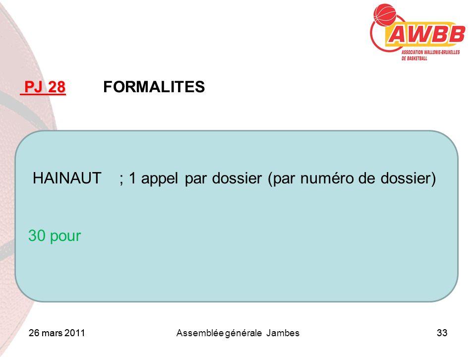 26 mars 2011Assemblée générale Jambes33 ORDRE DU JOUR PJ 28 PJ 28 FORMALITES HAINAUT ; 1 appel par dossier (par numéro de dossier) 30 pour 26 mars 201