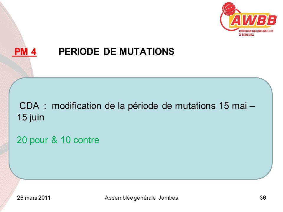 26 mars 2011Assemblée générale Jambes36 ORDRE DU JOUR PM 4 PM 4 PERIODE DE MUTATIONS CDA : modification de la période de mutations 15 mai – 15 juin 20 pour & 10 contre 26 mars 201136