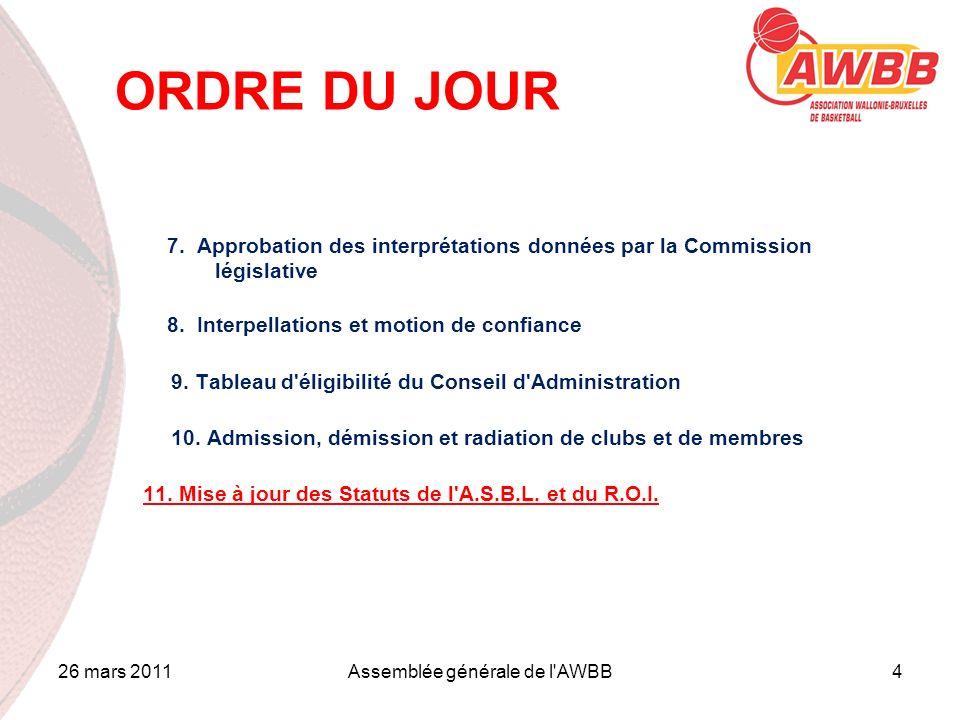26 mars 2011Assemblée générale de l'AWBB4 ORDRE DU JOUR 7. Approbation des interprétations données par la Commission législative 8. Interpellations et