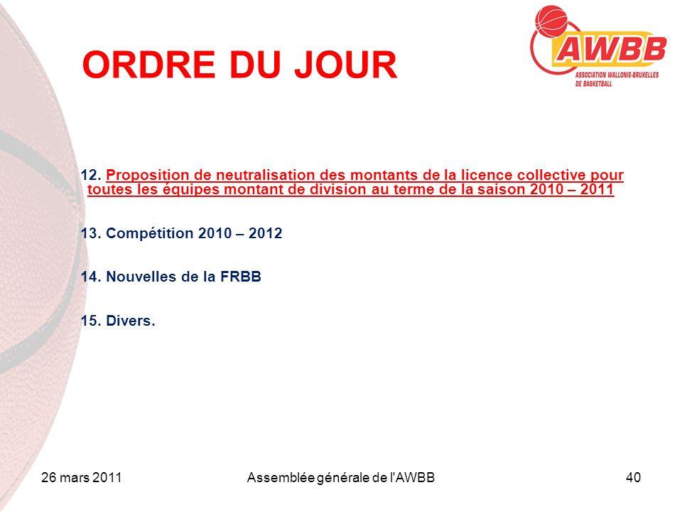 26 mars 2011Assemblée générale de l'AWBB40 ORDRE DU JOUR 12. Proposition de neutralisation des montants de la licence collective pour toutes les équip