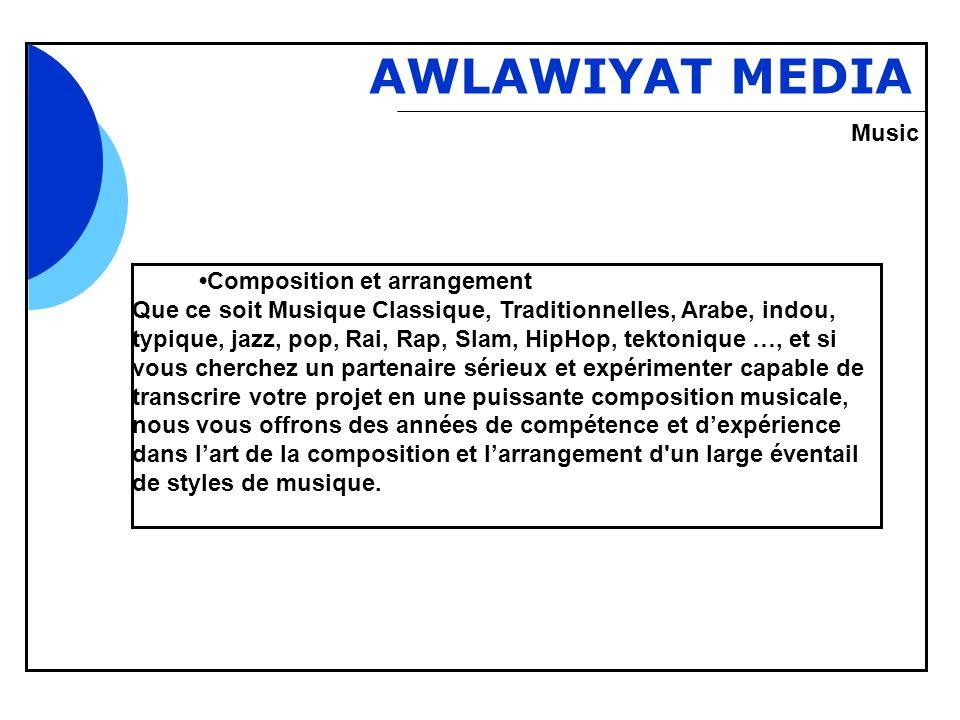 Bbb AWLAWIYAT MEDIA Composition et arrangement Que ce soit Musique Classique, Traditionnelles, Arabe, indou, typique, jazz, pop, Rai, Rap, Slam, HipHo