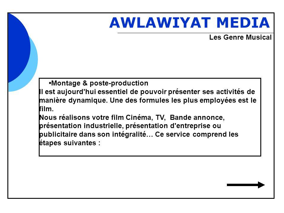 Bbb AWLAWIYAT MEDIA Montage & poste-production Il est aujourd'hui essentiel de pouvoir présenter ses activités de manière dynamique. Une des formules