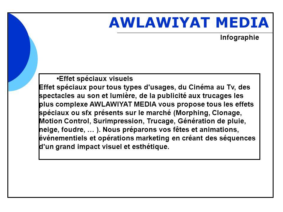 Bbb AWLAWIYAT MEDIA Effet spéciaux visuels Effet spéciaux pour tous types d'usages, du Cinéma au Tv, des spectacles au son et lumière, de la publicité