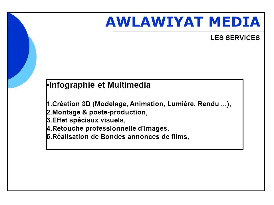 Bbb AWLAWIYAT MEDIA LES SERVICES Infographie et Multimedia 1.Création 3D (Modelage, Animation, Lumière, Rendu...), 2.Montage & poste-production, 3.Eff