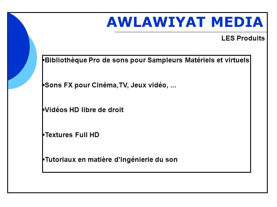 Bbb AWLAWIYAT MEDIA Bibliothèque Pro de sons pour Sampleurs Matériels et virtuels Sons FX pour Cinéma,TV, Jeux vidéo,... Vidéos HD libre de droit Text