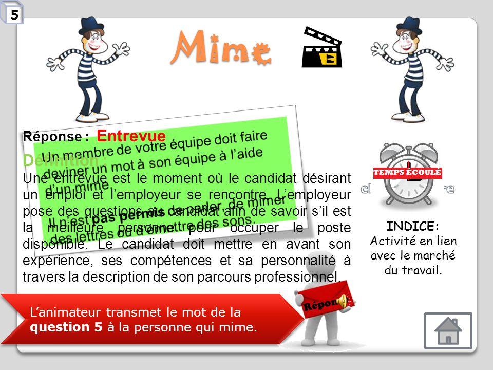 Mime Lanimateur transmet le mot de la question 4 à la personne qui mime. Réponse Réponse : Testeur, testeuse de jeux vidéo Définition : Personne qui r
