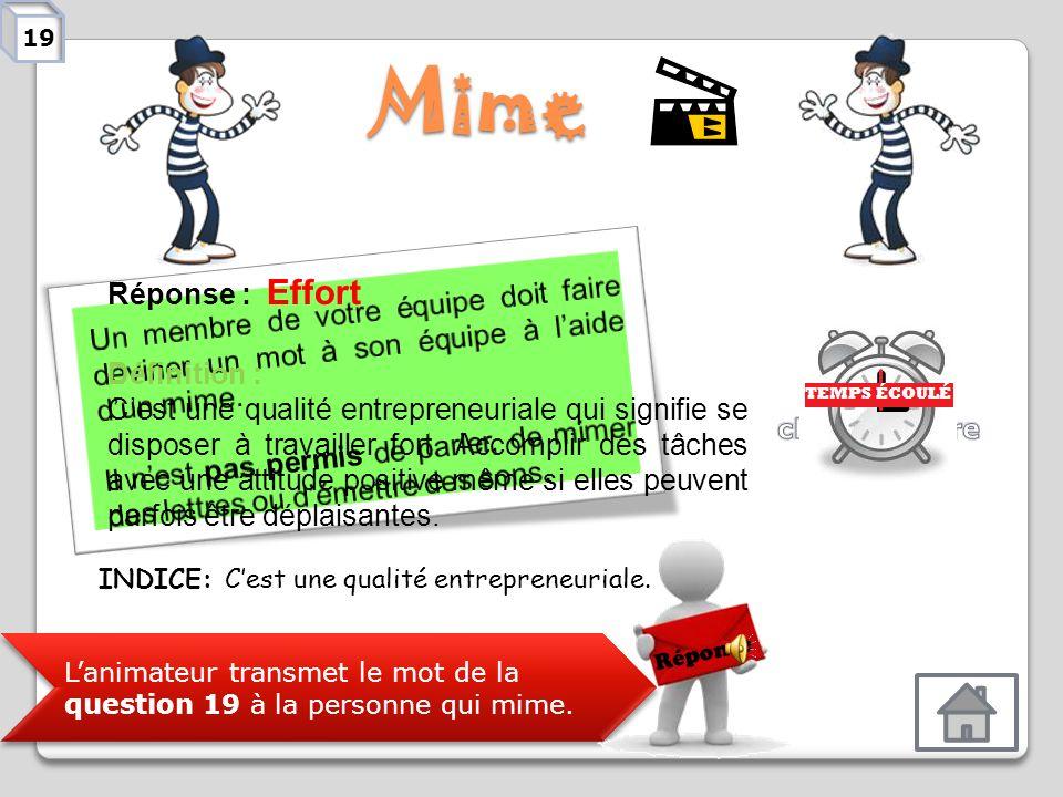 Mime Lanimateur transmet le mot de la question 18 à la personne qui mime. Réponse Réponse : Photographe Définition : Personne qui prend des photograph