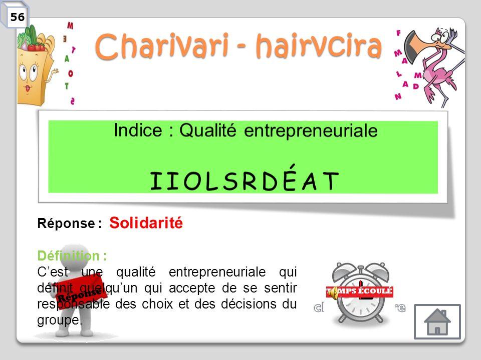 Charivari - hairvcira Réponse Réponse : Détermination Définition : Cest une qualité entrepreneuriale qui permet de se concentrer sur latteinte dun obj