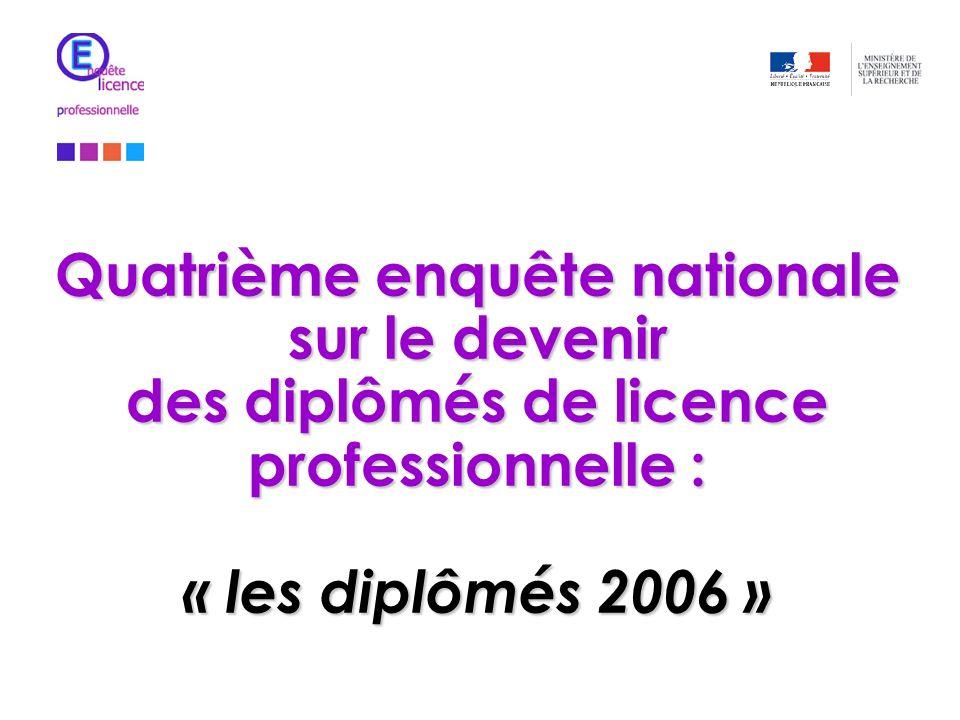 Quatrième enquête nationale sur le devenir des diplômés de licence professionnelle : « les diplômés 2006 »
