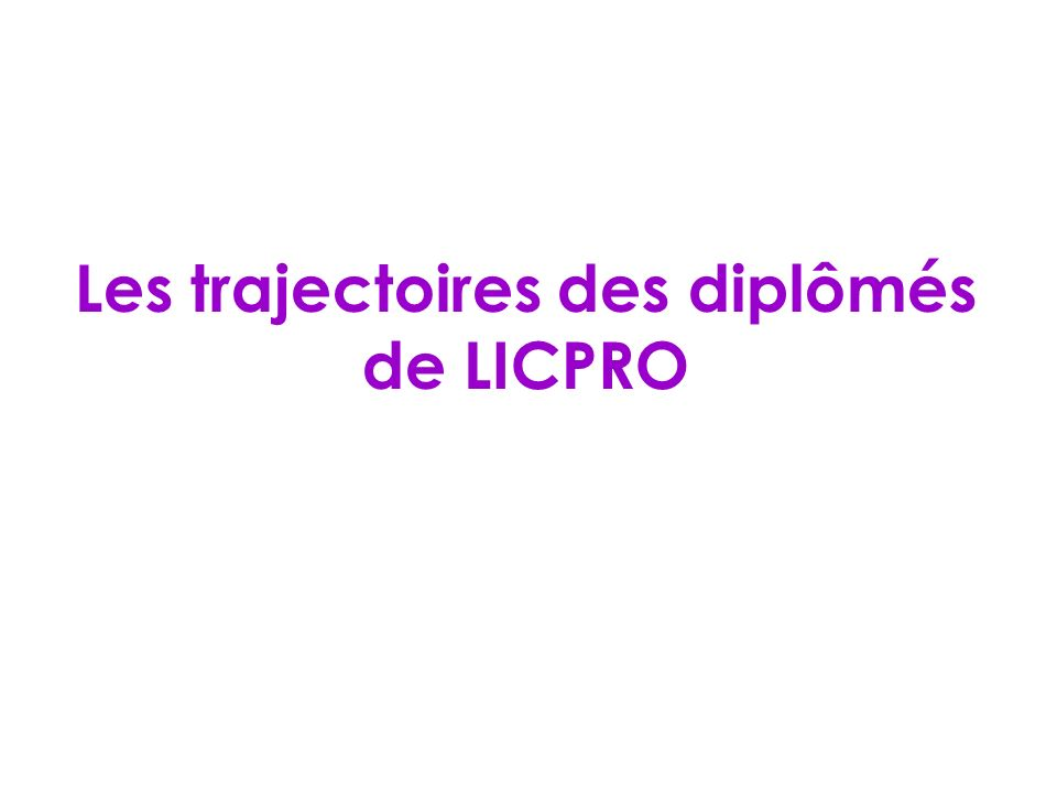 Les trajectoires des diplômés de LICPRO
