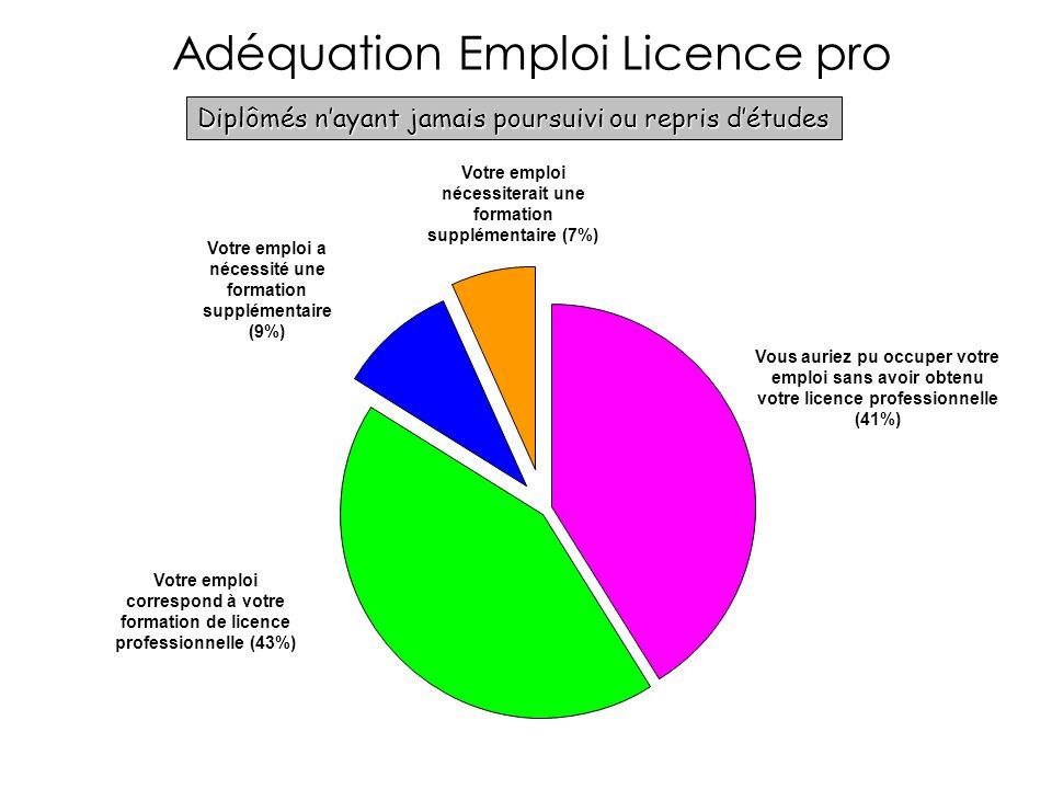 Adéquation Emploi Licence pro Diplômés nayant jamais poursuivi ou repris détudes Vous auriez pu occuper votre emploi sans avoir obtenu votre licence professionnelle (41%) Votre emploi correspond à votre formation de licence professionnelle (43%) Votre emploi a nécessité une formation supplémentaire (9%) Votre emploi nécessiterait une formation supplémentaire (7%)