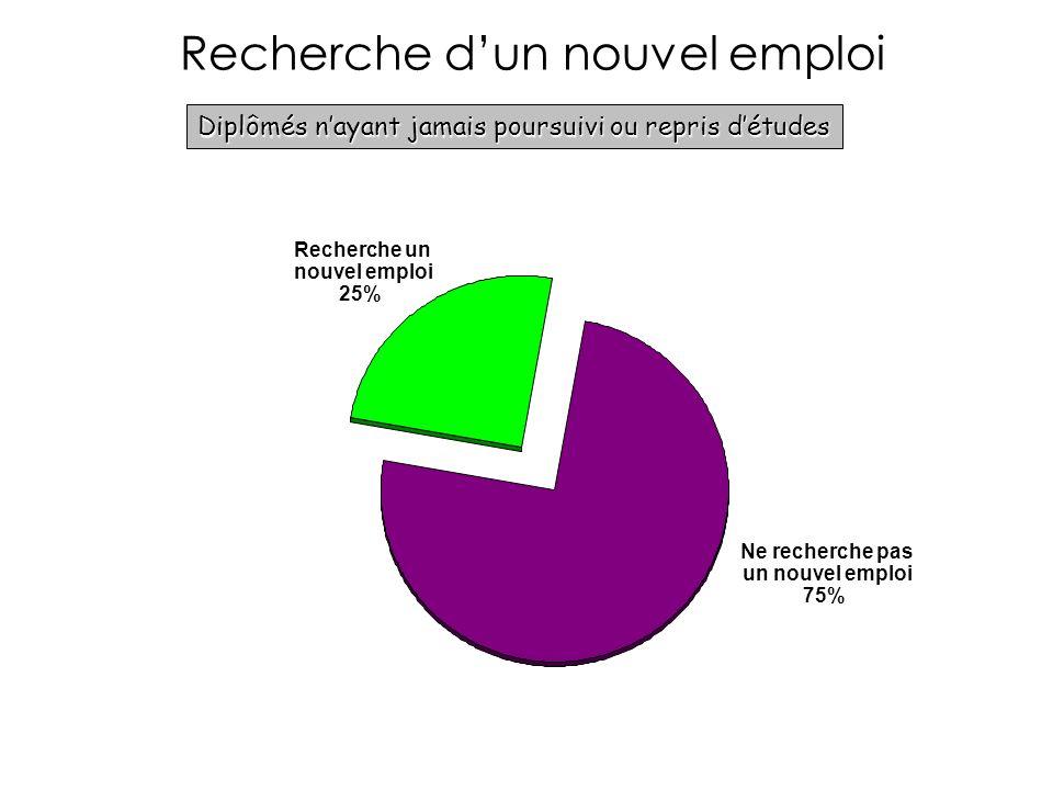 Recherche dun nouvel emploi Diplômés nayant jamais poursuivi ou repris détudes Ne recherche pas un nouvel emploi 75% Recherche un nouvel emploi 25%