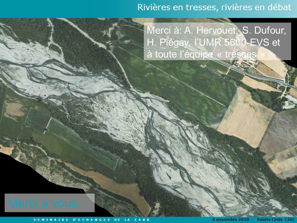 S E M I N A I R E D E C H A N G E S D E L A Z A B R 4 novembre 2010 - Sainte Croix (26 ) Rivières en tresses, rivières en débat TITRE Auteurs Merci à