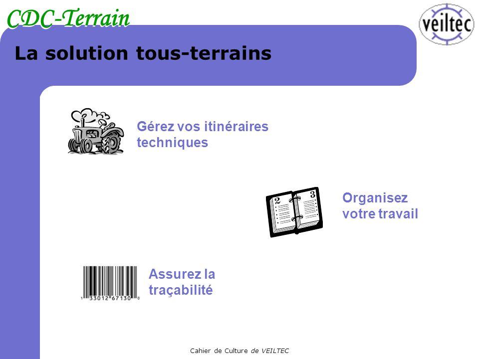Cahier de Culture de VEILTEC CDC-Terrain La solution tous-terrains Gérez vos itinéraires techniques Organisez votre travail Assurez la traçabilité