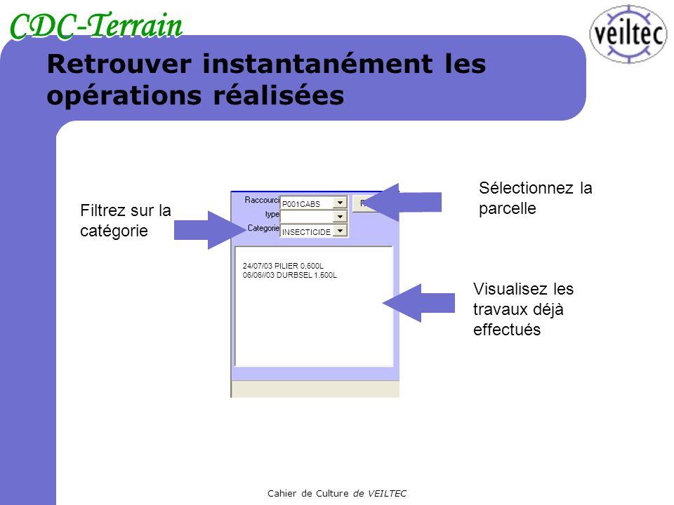 Cahier de Culture de VEILTEC CDC-Terrain Retrouver instantanément les opérations réalisées Filtrez sur la catégorie Sélectionnez la parcelle Visualise