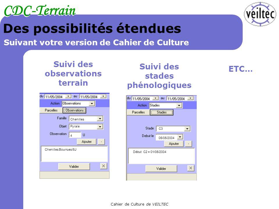 Cahier de Culture de VEILTEC CDC-Terrain Des possibilités étendues Suivant votre version de Cahier de Culture Suivi des observations terrain Chenilles