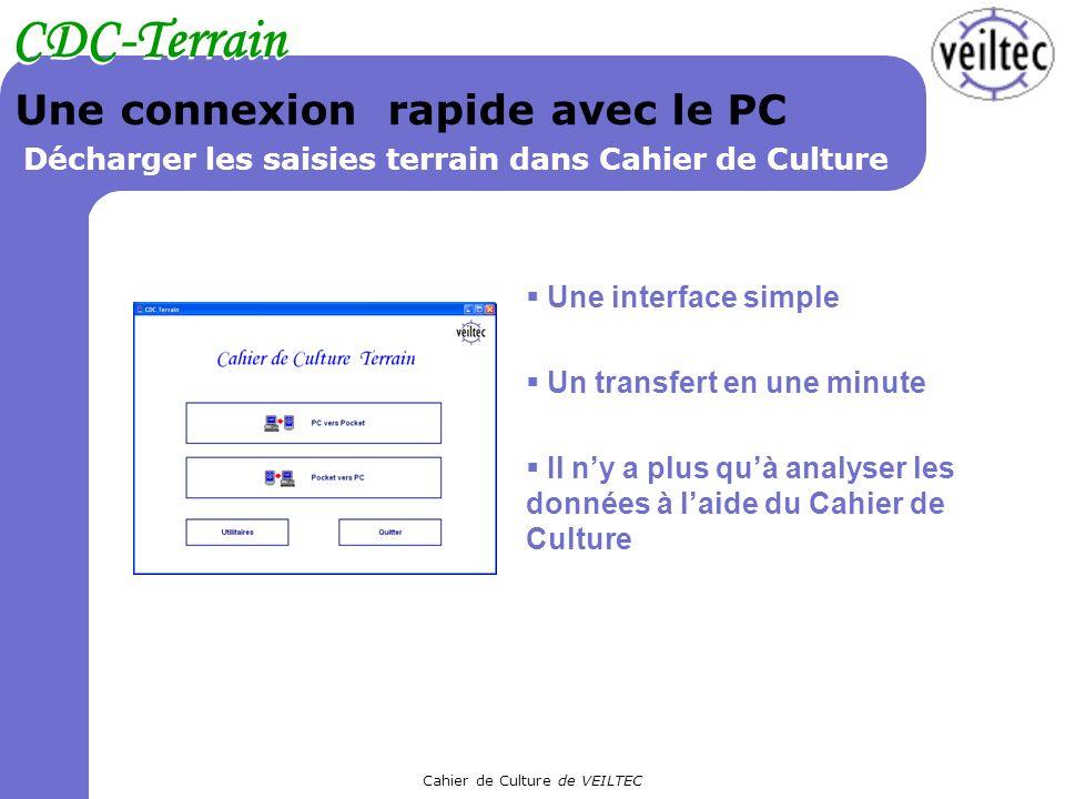 Cahier de Culture de VEILTEC CDC-Terrain Une connexion rapide avec le PC Décharger les saisies terrain dans Cahier de Culture Une interface simple Un