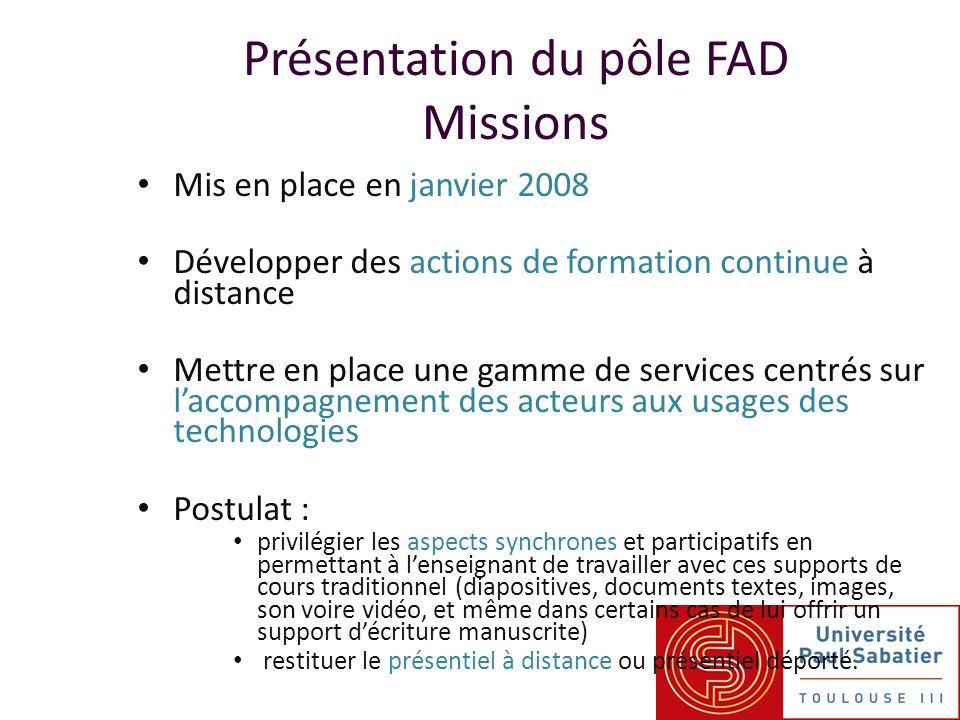 Présentation du pôle FAD Missions Mis en place en janvier 2008 Développer des actions de formation continue à distance Mettre en place une gamme de se