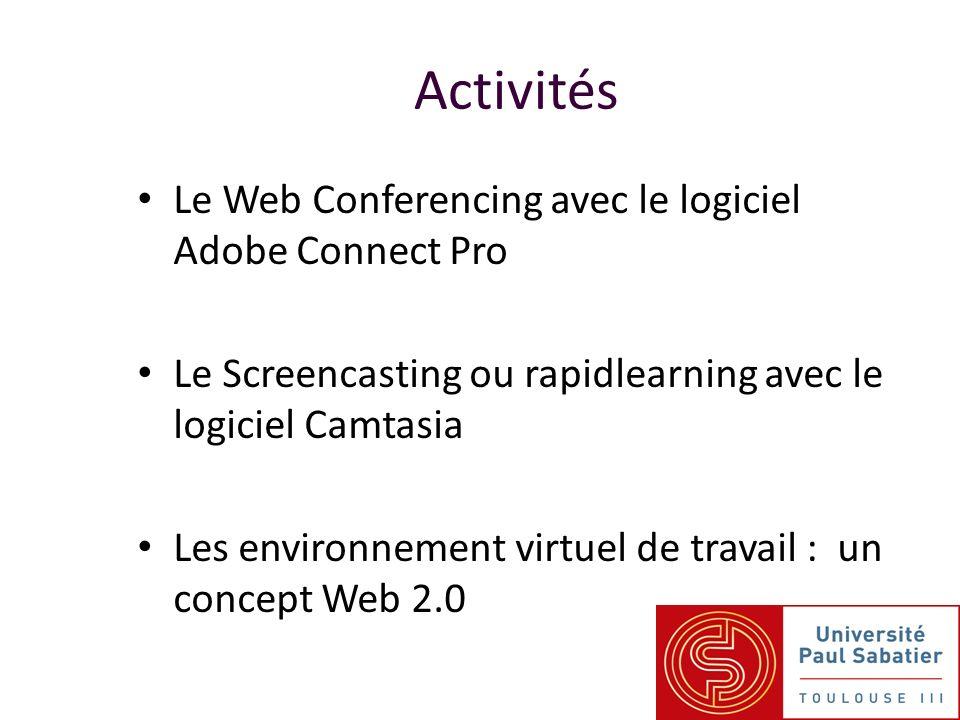 Le Web Conferencing avec le logiciel Adobe Connect Pro Le Screencasting ou rapidlearning avec le logiciel Camtasia Les environnement virtuel de travail : un concept Web 2.0 Activités