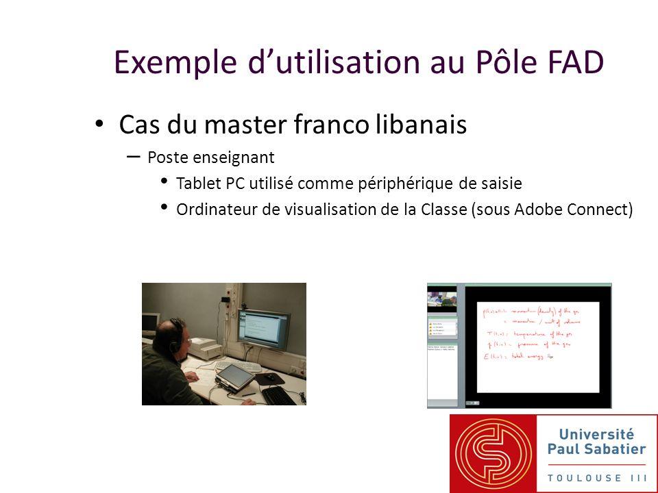 Exemple dutilisation au Pôle FAD Cas du master franco libanais – Poste enseignant Tablet PC utilisé comme périphérique de saisie Ordinateur de visuali