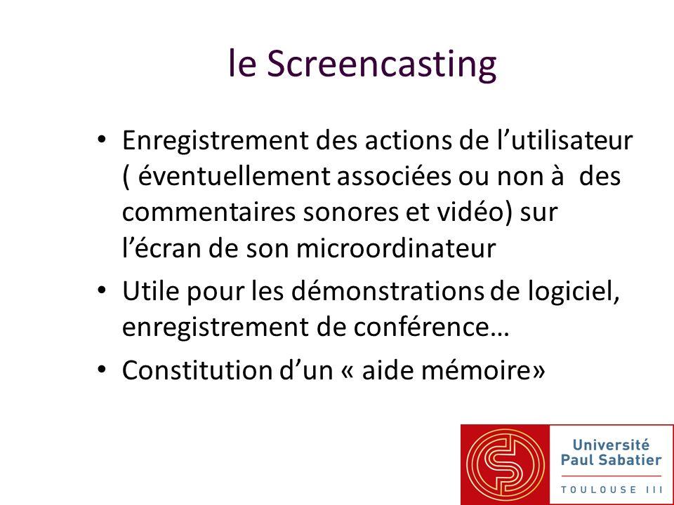 Enregistrement des actions de lutilisateur ( éventuellement associées ou non à des commentaires sonores et vidéo) sur lécran de son microordinateur Utile pour les démonstrations de logiciel, enregistrement de conférence… Constitution dun « aide mémoire» le Screencasting