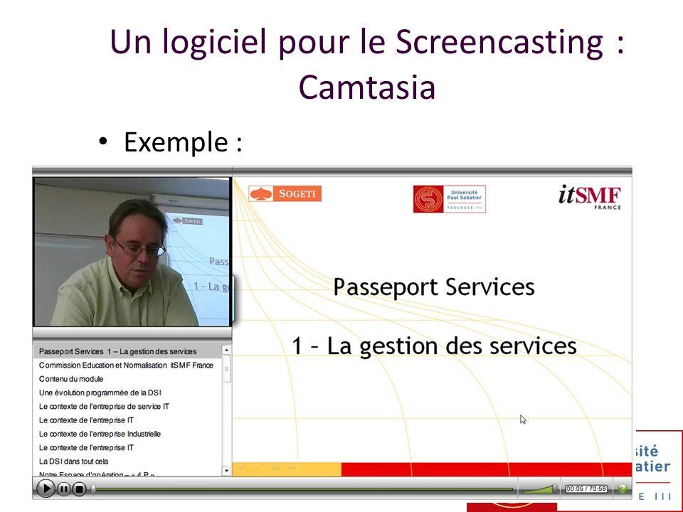 Exemple : Un logiciel pour le Screencasting : Camtasia
