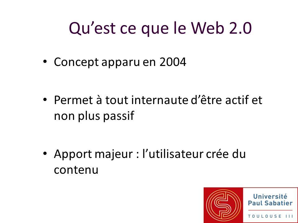 Concept apparu en 2004 Permet à tout internaute dêtre actif et non plus passif Apport majeur : lutilisateur crée du contenu Quest ce que le Web 2.0