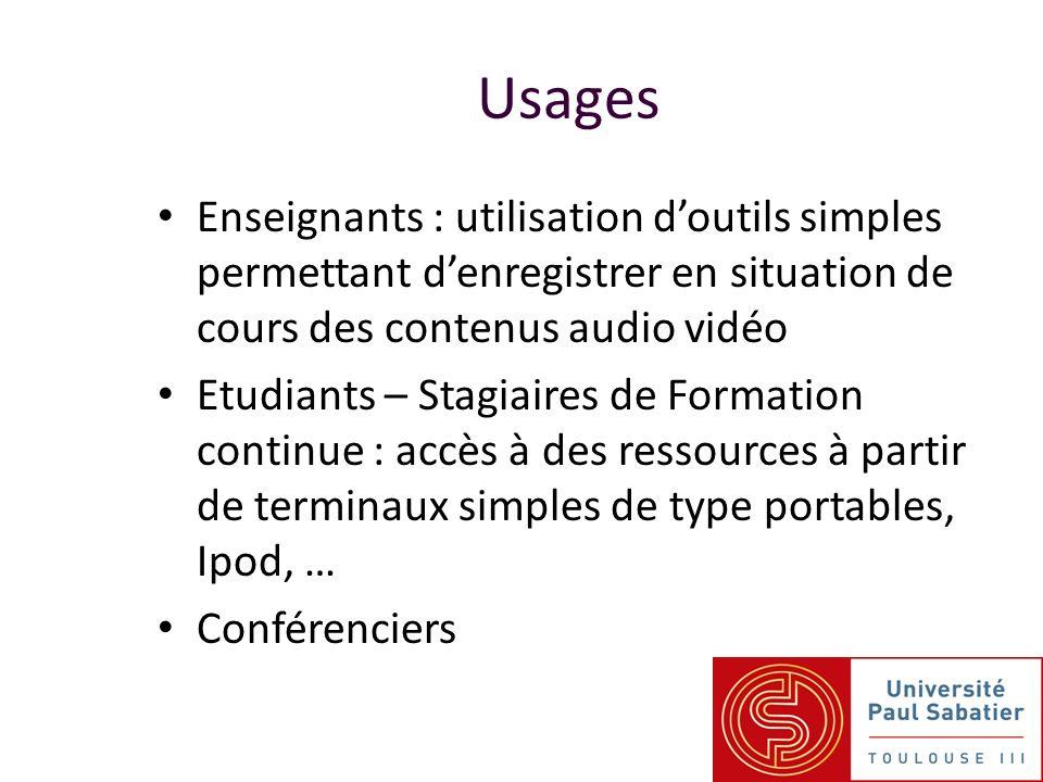 Usages Enseignants : utilisation doutils simples permettant denregistrer en situation de cours des contenus audio vidéo Etudiants – Stagiaires de Form