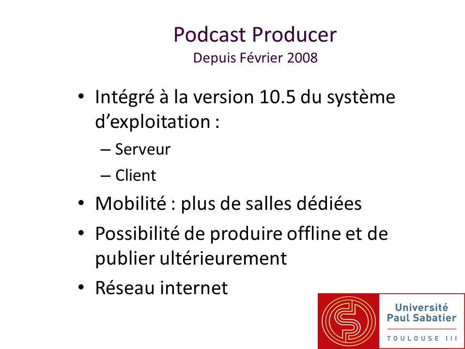 Podcast Producer Depuis Février 2008 Intégré à la version 10.5 du système dexploitation : – Serveur – Client Mobilité : plus de salles dédiées Possibilité de produire offline et de publier ultérieurement Réseau internet