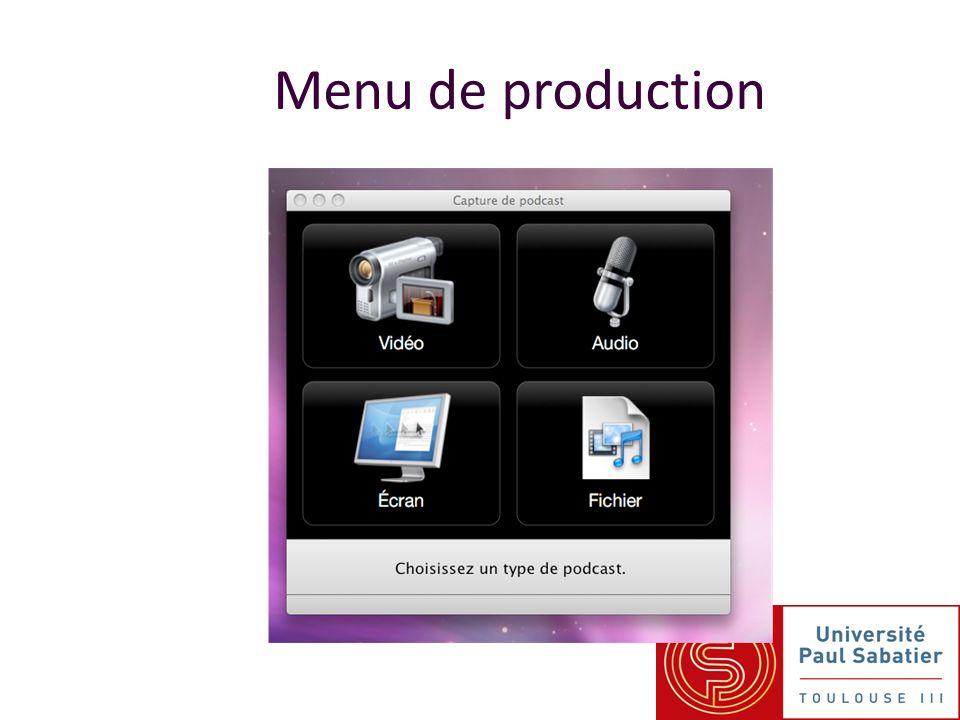 Menu de production