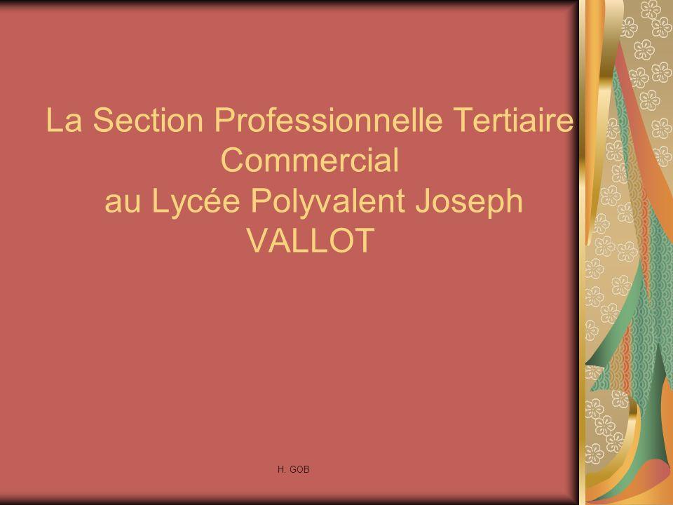 La Section Professionnelle Tertiaire Commercial au Lycée Polyvalent Joseph VALLOT H. GOB