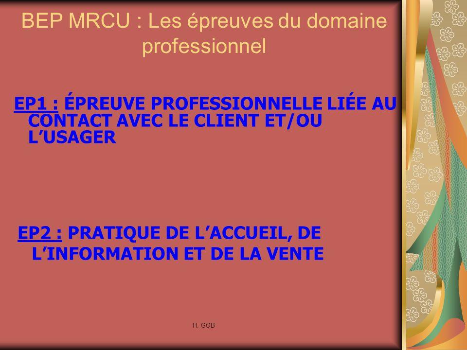 BEP MRCU : Les épreuves du domaine professionnel EP2 : PRATIQUE DE LACCUEIL, DE LINFORMATION ET DE LA VENTE H. GOB EP1 : ÉPREUVE PROFESSIONNELLE LIÉE
