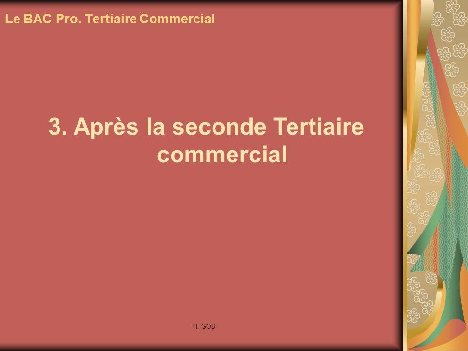 3. Après la seconde Tertiaire commercial Le BAC Pro. Tertiaire Commercial H. GOB