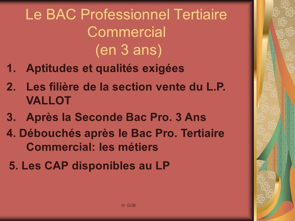 Le BAC Professionnel Tertiaire Commercial (en 3 ans) 1.Aptitudes et qualités exigées 2.Les filière de la section vente du L.P. VALLOT 3.Après la Secon