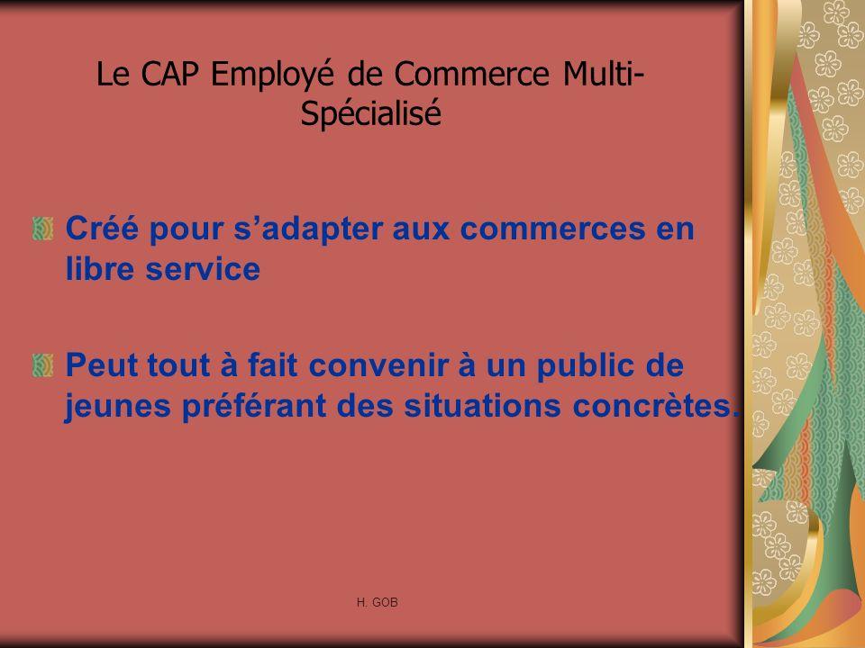 Le CAP Employé de Commerce Multi- Spécialisé Créé pour sadapter aux commerces en libre service Peut tout à fait convenir à un public de jeunes préféra