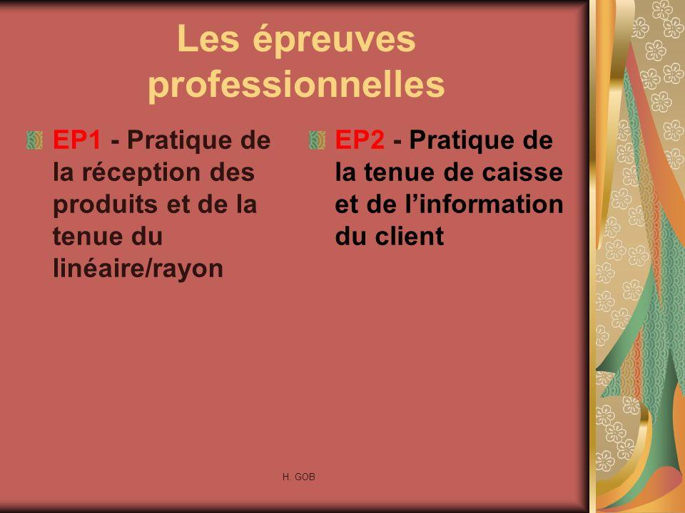 Les épreuves professionnelles EP1 - Pratique de la réception des produits et de la tenue du linéaire/rayon EP2 - Pratique de la tenue de caisse et de