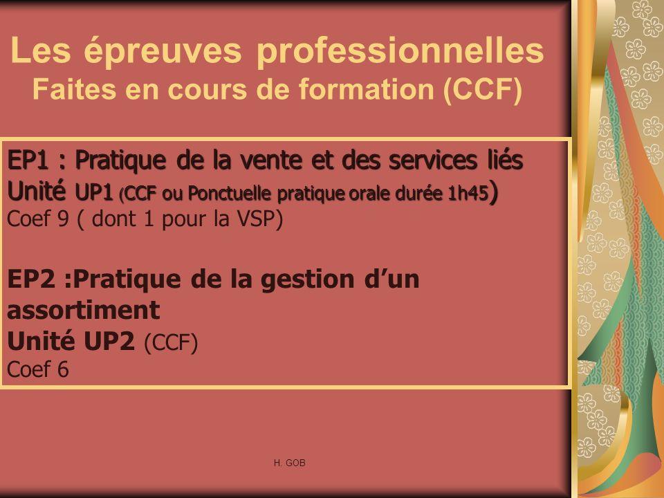 Les épreuves professionnelles Faites en cours de formation (CCF) EP1 : Pratique de la vente et des services liés Unité UP1 ( CCF ou Ponctuelle pratiqu