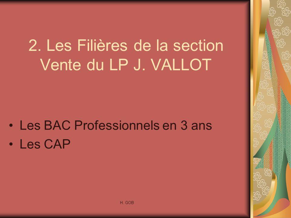 2. Les Filières de la section Vente du LP J. VALLOT Les BAC Professionnels en 3 ans Les CAP H. GOB
