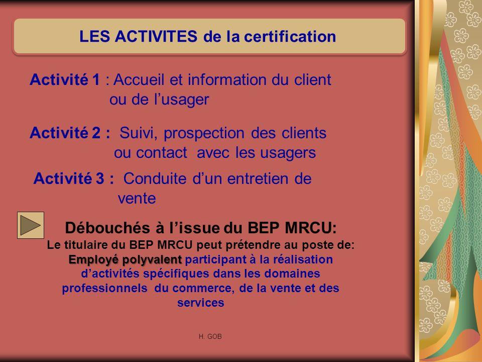Débouchés à lissue du BEP MRCU: Le titulaire du BEP MRCU peut prétendre au poste de: Employé polyvalent Employé polyvalent participant à la réalisatio